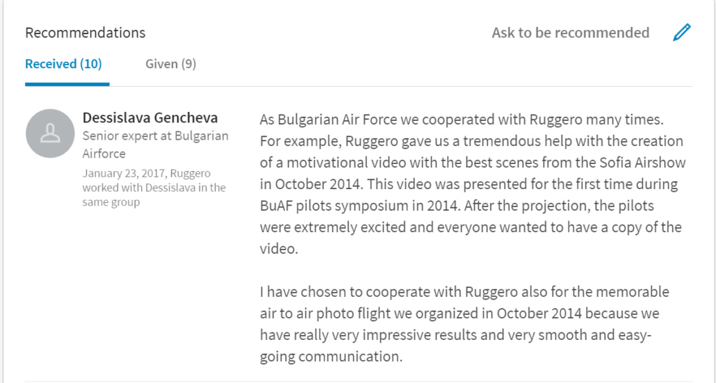 Bulgarian Air Force LinkedIn Recommendations